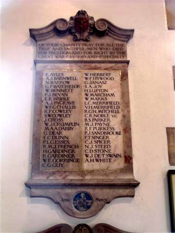 Roll Of Honour Dorset Bournemouth St Clements