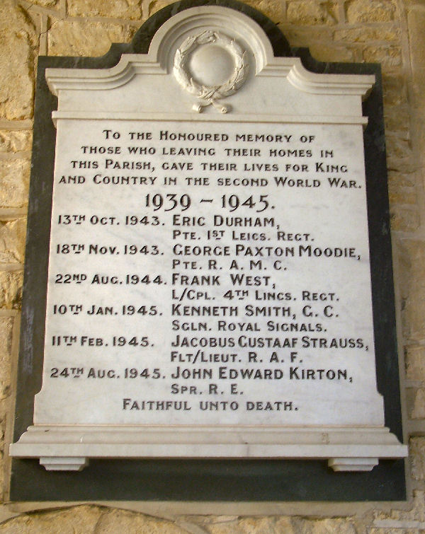 Roll Of Honour Lincolnshire Old Somerby