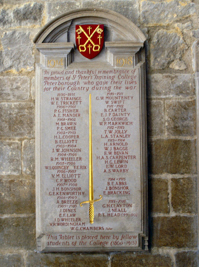 Roll Of Honour Northamptonshire Peterborough Cathedral